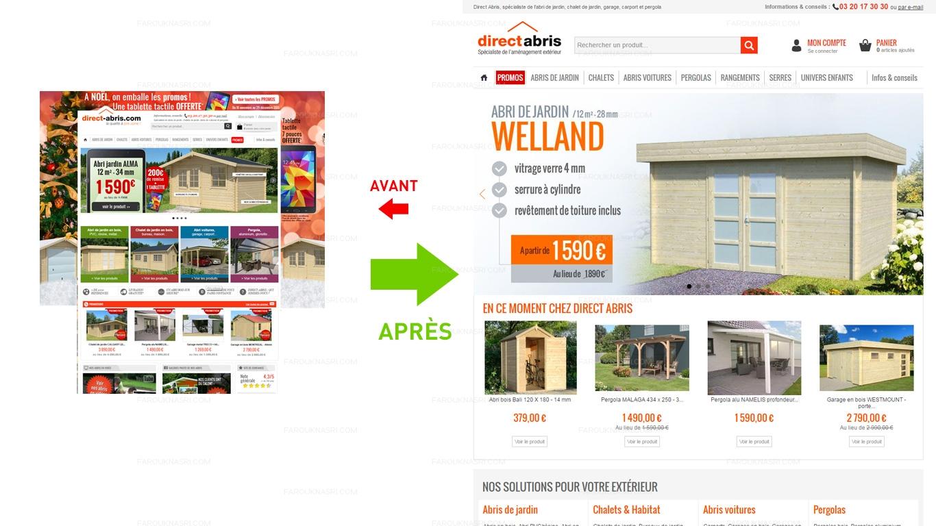 Refonte responsive du site E-commerce Direct-Abris.com