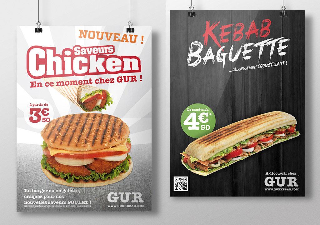 création affiche publicitaire gur kebab lille, roubaix, tourcoing