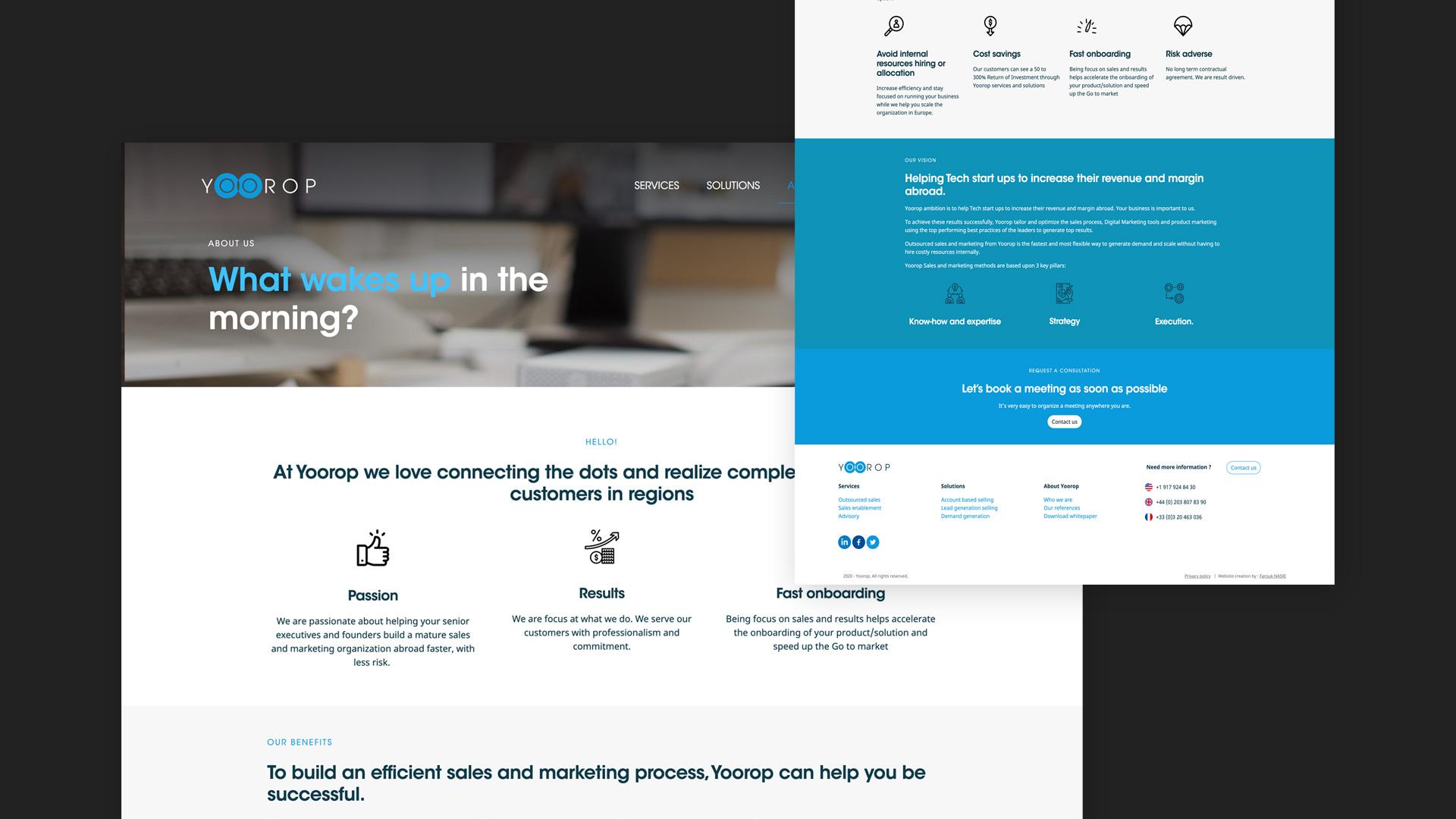 Aperçu des pages web du site internet Yoorop conçu par Farouk Nasri