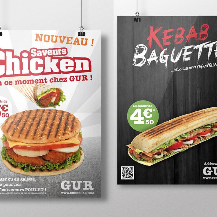 Création d'affiches publicitaires - GUR Kebab