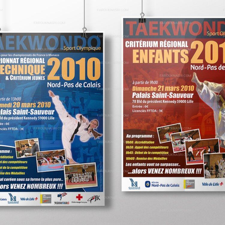 Création d'affiches publicitaires - Ligue Taekwondo Nord Pas-de-Calais