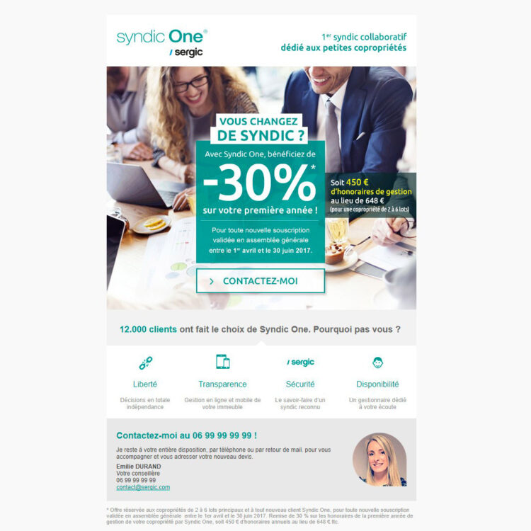 Création et intégration d'un e-mail marketing - Syndic One