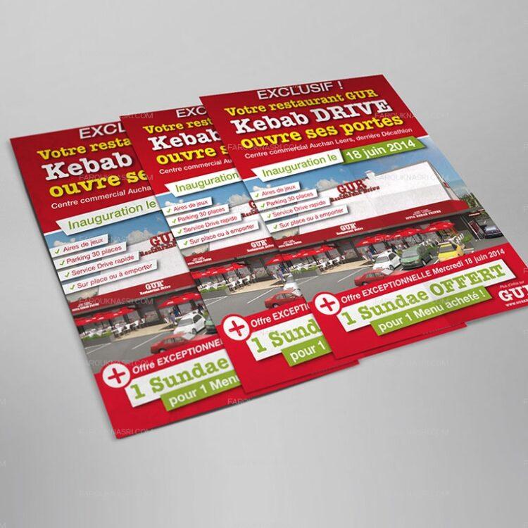Création de flyers publicitaires - GUR Kebab Drive