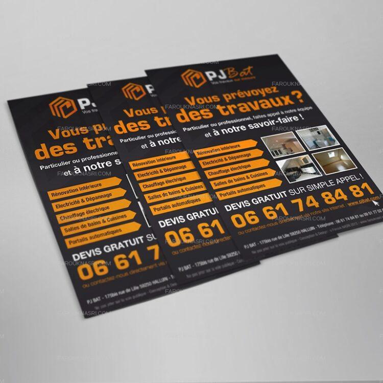 Création de flyers publicitaires - PJ Bat