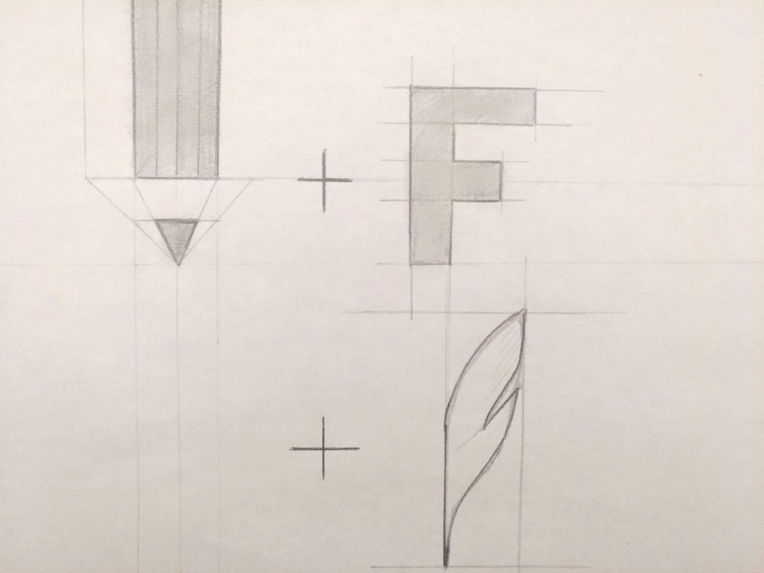 Premières esquisse au crayon du logo Farouk Nasri