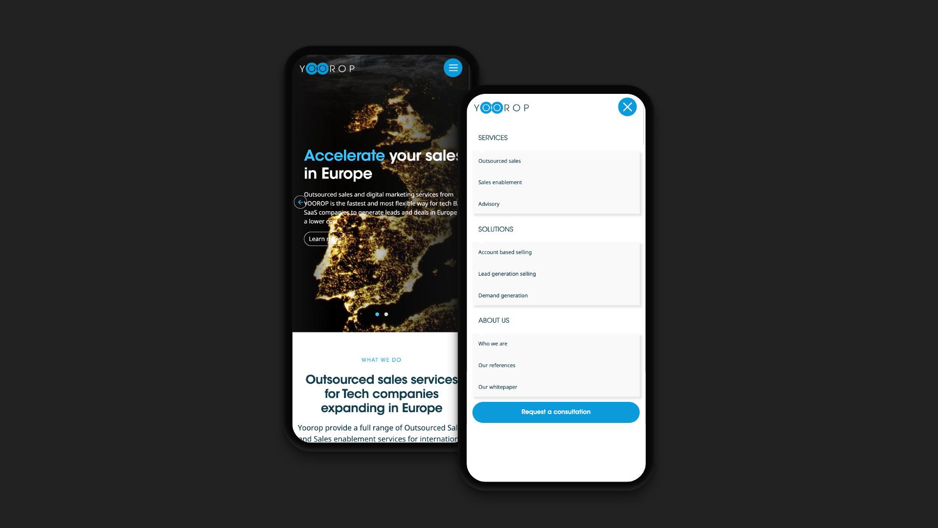 Rendu du menu de navigation du site internet sur téléphone mobile au format responsive