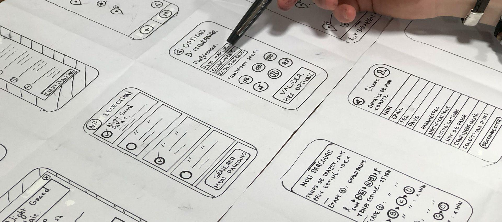 Prototypage UX sous forme de wireframes et sketching, lors de la conception par l'agence UX lilloise Farouk Nasri